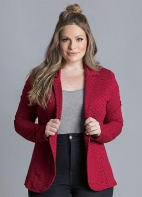 Blazer de Moletom Poá Bordô Plus Size - Quintess