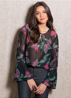 Blusa em Chiffon com Mangas Sino Preto e Floral