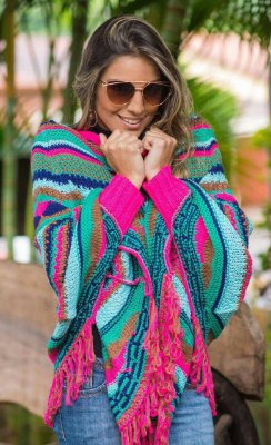 Poncho Color Rosa
