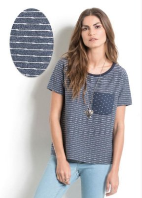 T-Shirt Listrada Quintess com Bolso