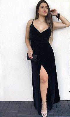 Vestido Longo Transpassado Veludo Cristal c/ Fenda