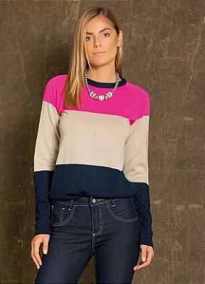 Suéter de Tricô Listrado Rosa, Bege e Azul