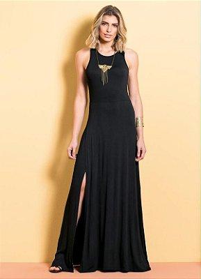 Vestido Longo com Fenda Preto Quintess