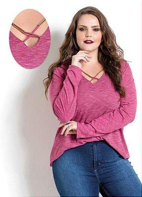 Blusa Rosa com Tiras Quintess Plus Size