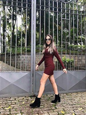 Vestido Manga Longa Canelado - Inlove