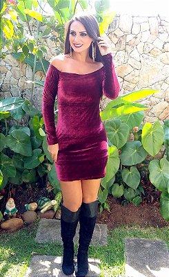 Vestido Veludo Marsala