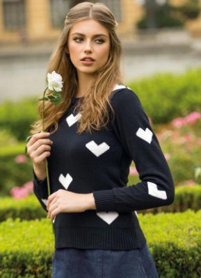 Suéter de Tricô Corações