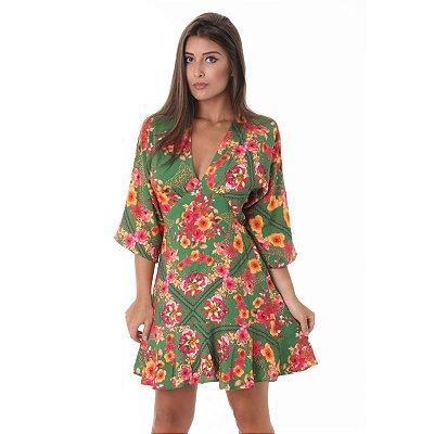 Vestido Pitanga Viscose Floral Verde
