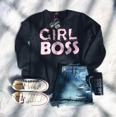 Blusa de Moletom Girl Boss