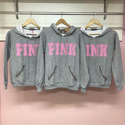 Blusa de Moletom com Capuz Pink