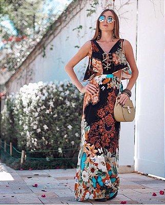 Vestido Longo Florido Amarração
