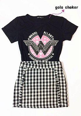 T-shirt Choker Mulher Maravilha