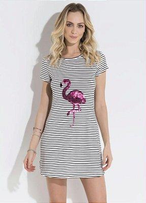 Vestido Listrado Flamingo em Lantejoula