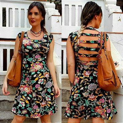Vestido Curto Floral Tiras