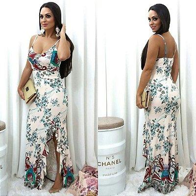 Vestido Longo Fenda Flor