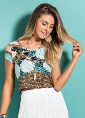 Blusa Cropped Mix Floral