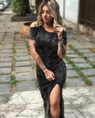 Vestido Longo Estonado