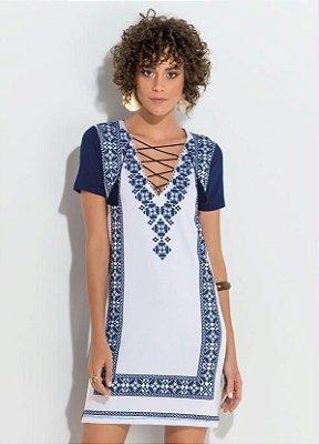 Vestido Estampado e Azul com Transpasse