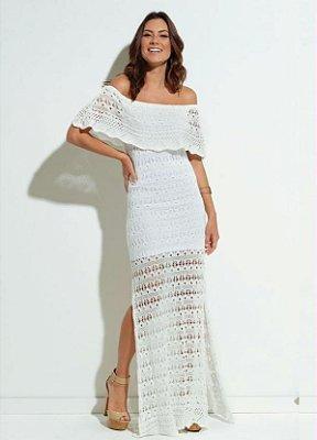 Vestido Tricot Branco Babado no Decote