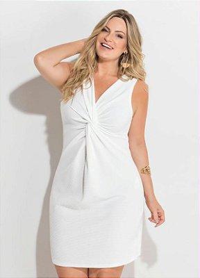 Vestido Branco Detalhe de Nó Plus Size