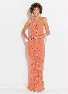 Vestido Longo Coral em Tricot