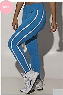 Legging Cós Baixo com Duas Listras (Azul Celeste)