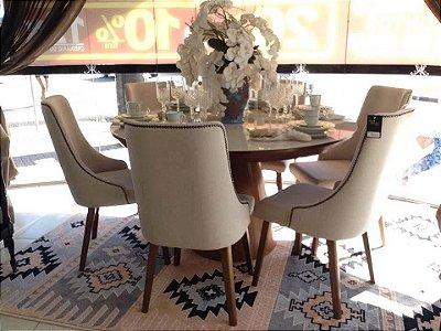 Sala de Jantar 1,40 x 140 C/Tampo de Vidro Colado - 06 Cadeiras