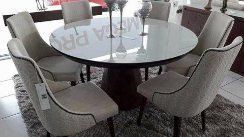 Sala de Jantar 1,20 x 120 C/Tampo de Vidro Colado - 06 Cadeiras