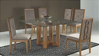 Sala de Jantar 1,40 x 1,40 X 15mm - 08 Cadeiras - (12 Parcelas Sem Juros - Frete Grátis )