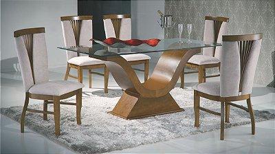 Sala de Jantar 1,60 x 90 - 06 Cadeiras - (12 Parcelas Sem Juros - Frete Grátis )