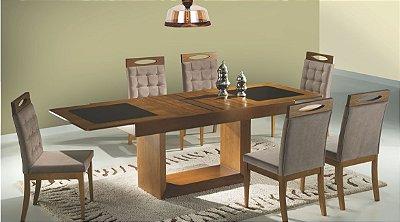 Sala de Jantar Elástica 1,80 x 97 (+70cm ) - 06 Cadeiras - (12 Parcelas Sem Juros - Frete Grátis )