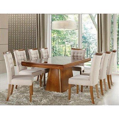 Sala de Jantar Tampo de Vidro Colado 2,00 x 1,00 (+80cm ) - 08 Cadeiras