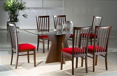 Sala de Jantar Mesa Retangular Flávio Móveis 1,60 x 1,00 x 12mm - 06 Cadeiras
