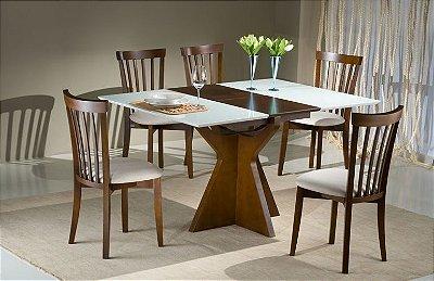 Sala de Jantar Mesa Elástica Flávio Móveis 90 x 90 x 40cm - 05 Cadeiras