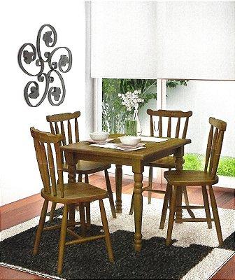 Sala de Jantar 1,30 x 1,30 - (04 Cadeiras ) - Madeira Maciça