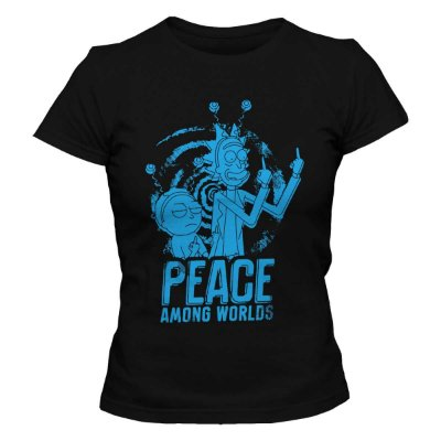 Camiseta Feminina Rick and Morty - Peace Among Worlds