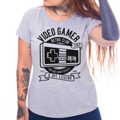 Camiseta Feminina Video Gamer Retro Club