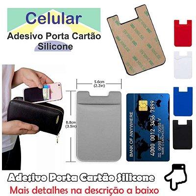 1 Adesivo Porta Cartão de Silicone p/ Celular Sem Impressão