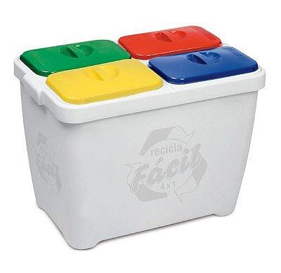 Lixeira Recicla Fácil 4 x 1 para coleta seletiva