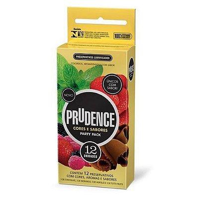 Preservativo Prudence Cores e Sabores - Party Pack - 12 Unidades