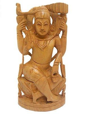 Escultura Shiva em Madeira 20cm - Índia