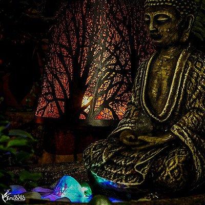 Fonte de Buda em Pedra e Cristais 30cm