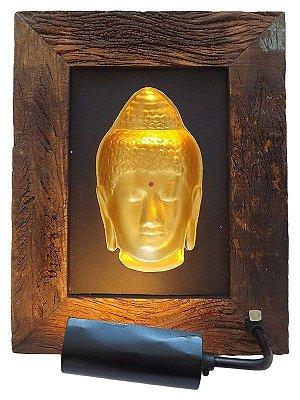 Quadro Iluminado Buda 3D - Gold
