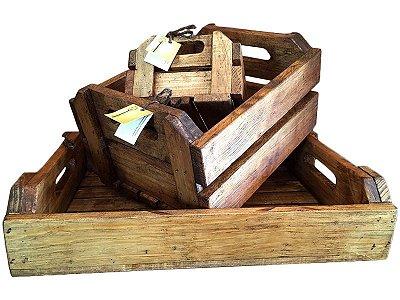 Trio de Caixas em Madeira Rústica
