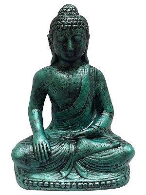 Escultura Buda de Pedra Verde 22cm