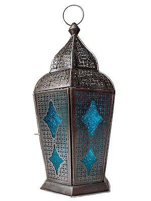 "Lanterna Indiana ""Samsara"" Azul 43cm"