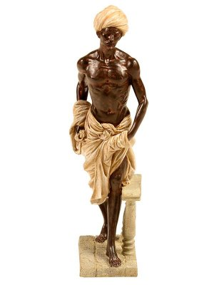 Escultura Servo da Índia em Resina 43cm