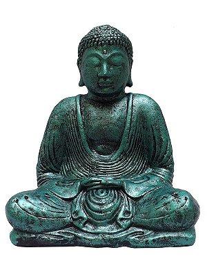 Escultura Buda Cimento 30cm - Verde