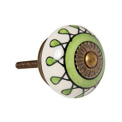 Puxador de Móveis em Cerâmica Verde / Branco