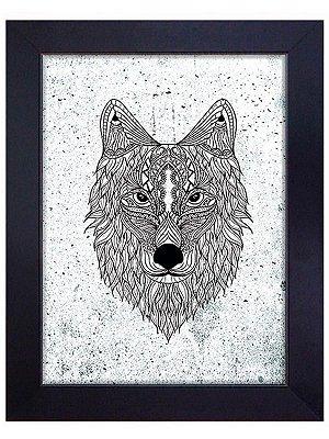 Quadro Emoldurado Lobo 45x55cm